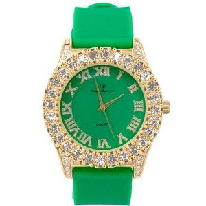 Men Gold ice out watch -Green /Gold